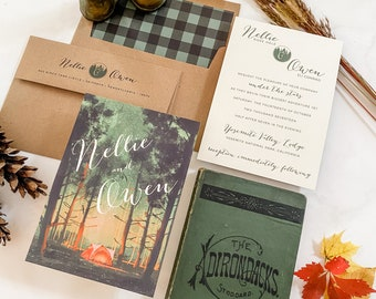 Custom Camp-themed Wedding Invitations. Personalized for you! The perfect choice for rustic & elegant invitations. SAMPLE SET