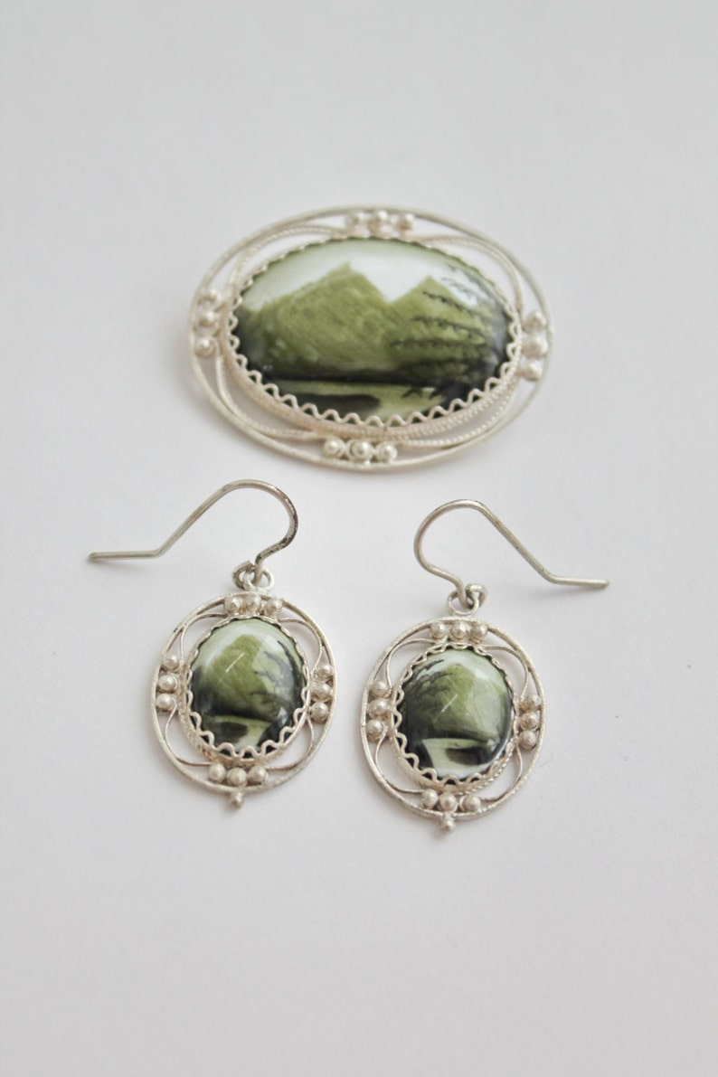 Finift #013 Enamel Russian Rostov Vintage Style Finift Set Brooch Earrings Hand painted green Free Shipping