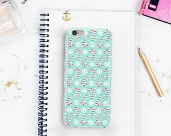 Candy Cane & Snowflake Case for all iPhone Models, Festive Winter Christmas Case, iPhone 7, iPhone 6, 3D Full Wrap Hard Cover \ hc-xm013