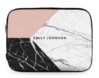 Personalised Pink Geometric Marble, MacBook Cover, Neoprene Laptop Sleeve, MacBook Case, Laptop Case, Carry Case, Laptop Bag \ ls-pp322
