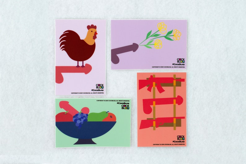 Cock art stickers by CockBloq 4-pack, one of each