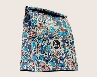 "Insulated Lunch Bag Tyvek ""Monsters"" / YPB-3 / Lunch Sack/ Lunch Bag/ paper bag/ Insulated/ BACK to SCHOOL/ Eco-friendly"