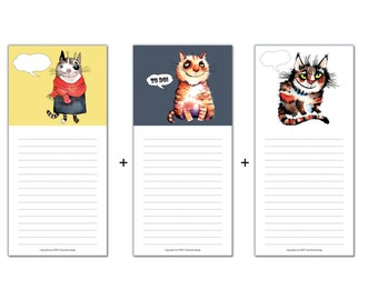SET 3Pcs Notepad with Magnet Shopping Block with Magnet Cats Fridge Memo Chalkboard Gifts Cat Lover Cat by Farky