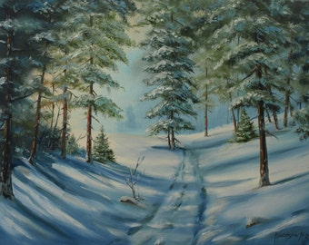 Winter forest oil painting 12x16in Winter Landscape, Woodland road, Gift ideas for men Snow fir tree Christmas gift