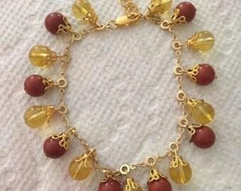Natural Citrine and Jasper Chain Bracelet