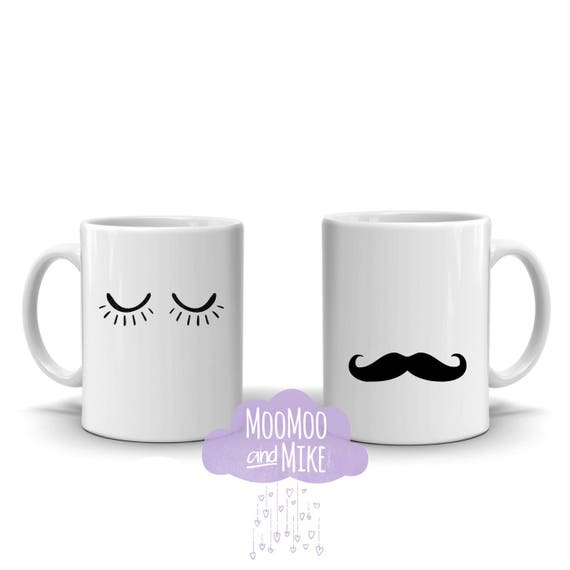 His & Hers mugs | Personalsed mugs | His and His | Hers and Hers | Lashes or Moustache