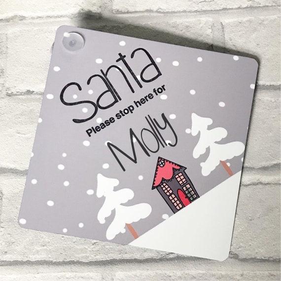 Santa please stop here sign | Personalised Christmas sign | Personalised hanging sign | Window sign