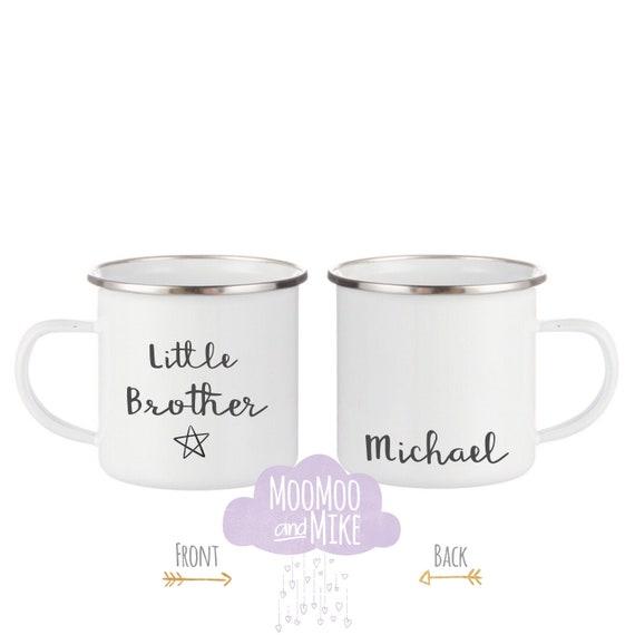 Little brother mug | Children's mug | can be personalised | 12oz enamel mugs | Camping mug