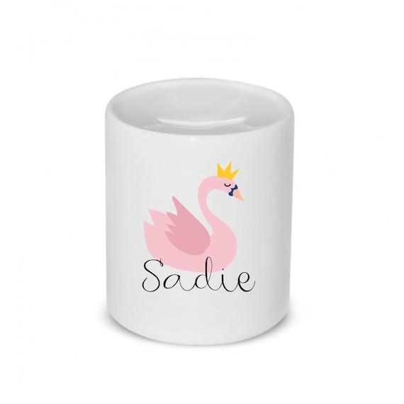 Money box | Swan box | Add any text | Personalised piggy bank | Savings bank.