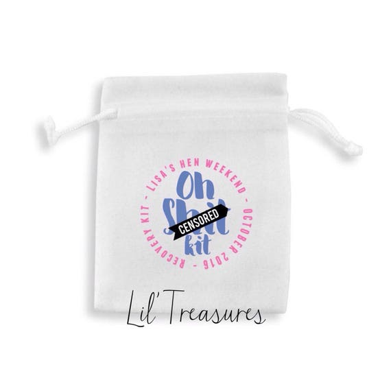 Personalised oh sh*t kit favour bags. Hangover Helper, survival kit, recovery kit, hen do or Wedding pouches, any wording & colour