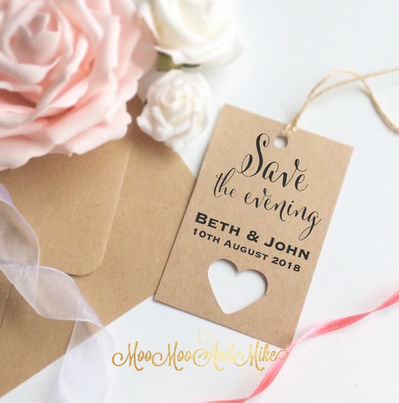 Save the evening tags | Save the dates | Set of 10 | Wedding tags | Rustic save the date | Gift tags.