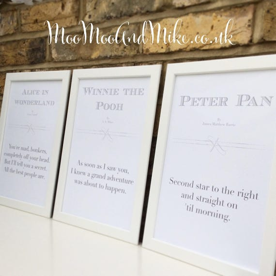 Disney prints | Children's book quote prints | Set of 3 or individual prints | Alice in wonderland | Peter Pan | Winnie the Pooh