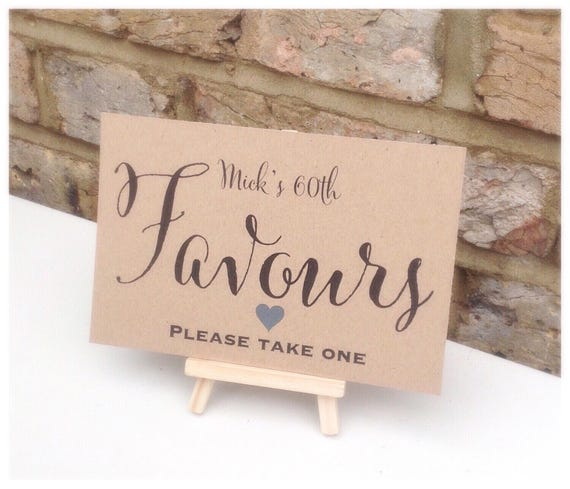 Favour sign comes with small easel to stand on | Personalised | Wedding favour sign | Party favours | Birthday party favours | Rustic