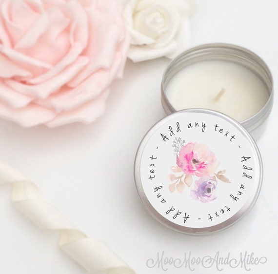 Set of 10 personalised candle Wedding Favours - Soy Favour Candles   Personalised candle Favour. Tin 50ml come with organza bag's