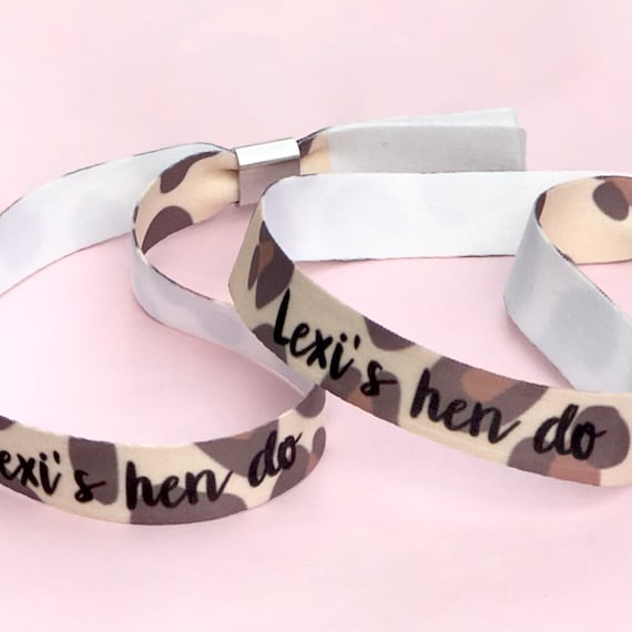 Personalised wristbands | Add any text | Wedding wristbands  | Team Bride | Hen party wristband | Hen favours | Leopard print