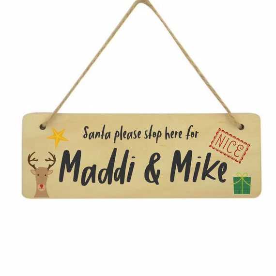Santa please stop here sign | Personalised Christmas sign | Personalised hanging sign | Christmas decor