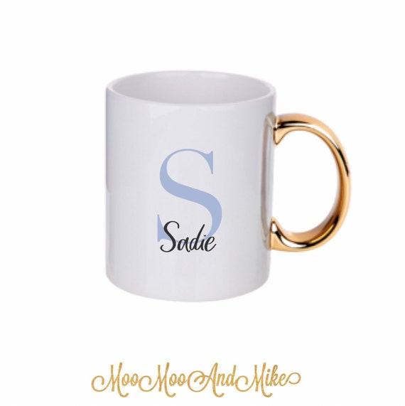 Personalised mug | Add any text | Gold handle custom mug | Teacher gifts | Custom mug | Wedding mugs | Gold and white mug