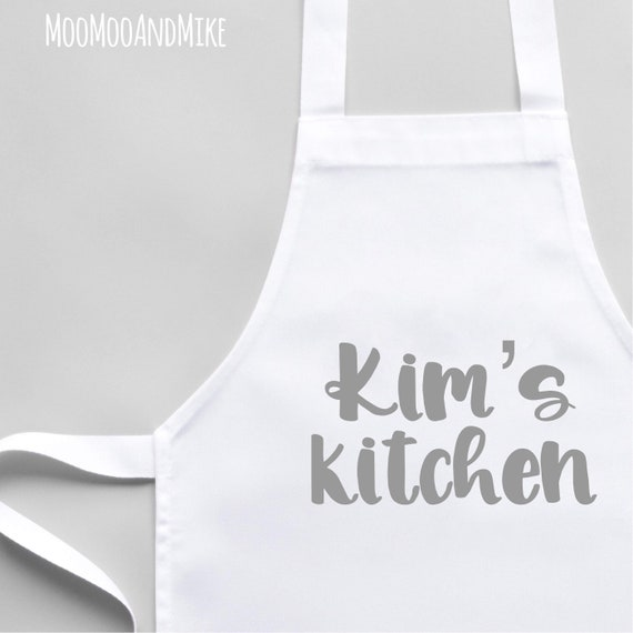 Personalised Apron | Child and Adult size | Add any text | White Apron | Kitchenware | Cooking gifts | Apron with pocket