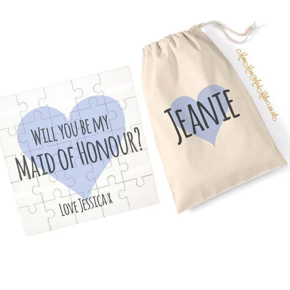 Jigsaw with matching drawstring bag | Will you be my bridesmaid | Add any text | Proposal jigsaw | Wedding gift