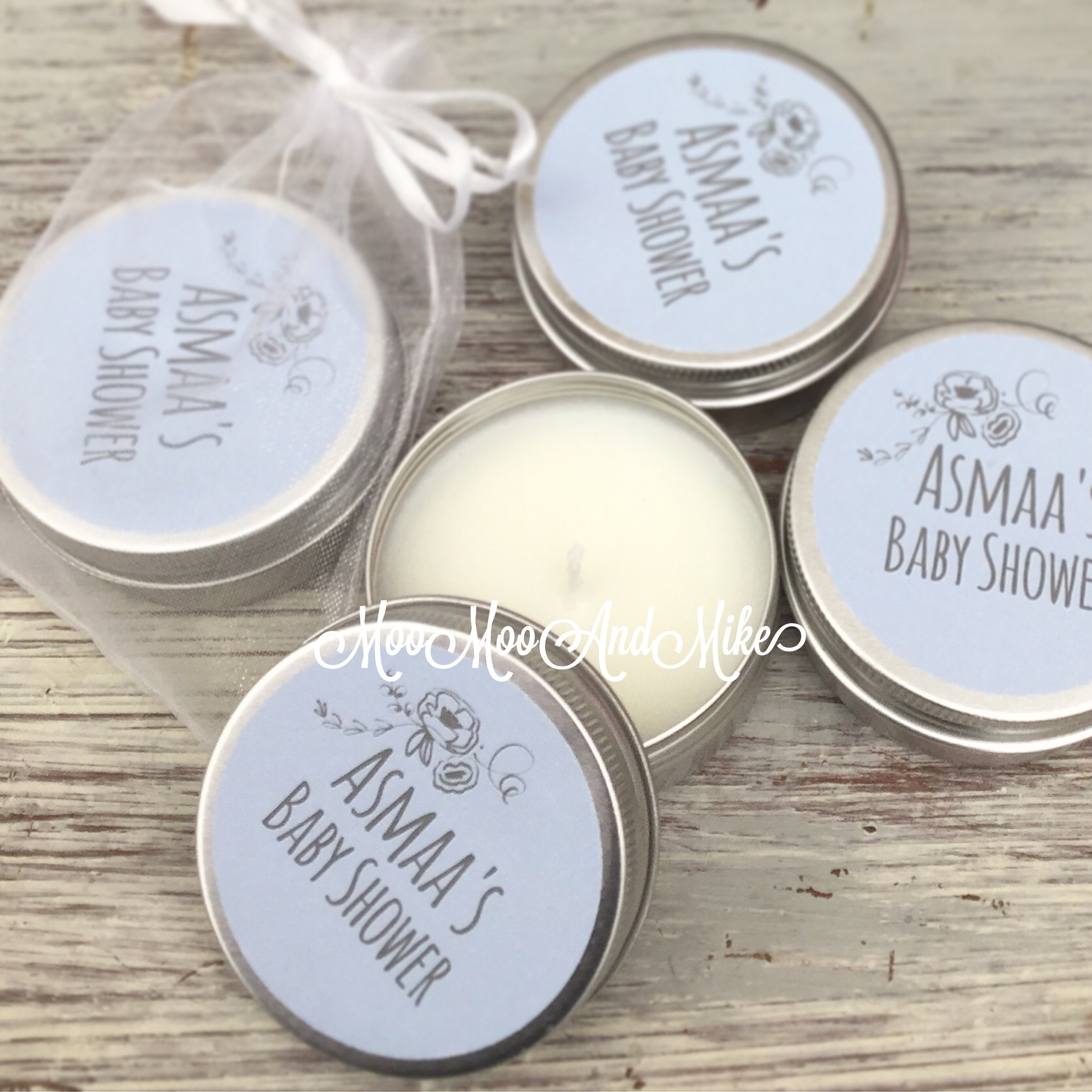 Set Of 10 Personalised Candle Baby Shower Favours Soy Favour