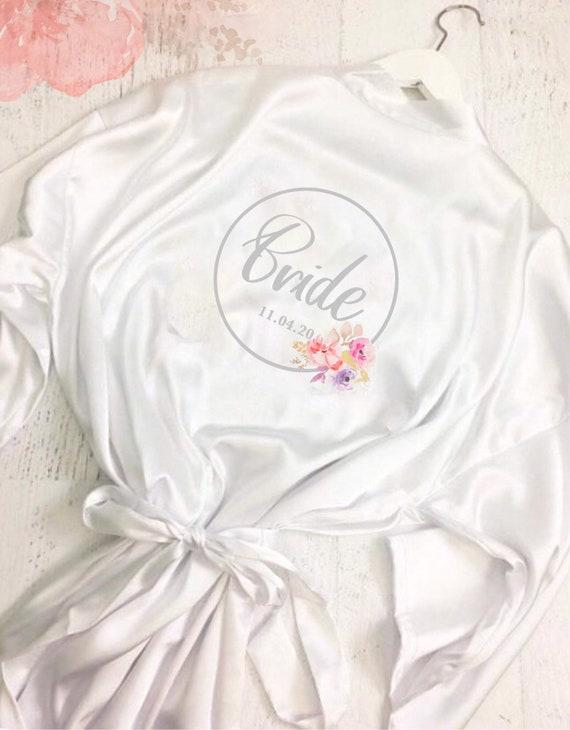 Wedding dressing gown | Kimono robe | Bridal robes | Satin robe | Bride robe | Bridal party dressing gown | Floral