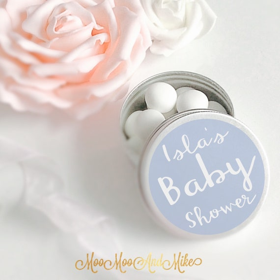 Set of 10 mint Favours    Treat tin   Personalised Baby shower Favor   Tin 50ml   Wedding favours.