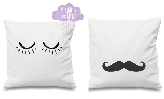 Moustache or lashes cushion cover | Decorative cushion | His & Hers pillows | Bedroom decor | Home decor