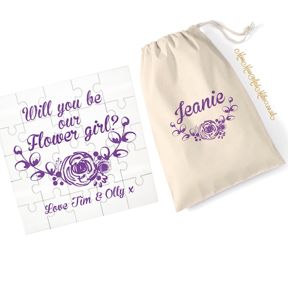 Jigsaw with matching drawstring bag | Will you marry me | be my bridesmaid, flower girl | Proposal jigsaw | Wedding gift