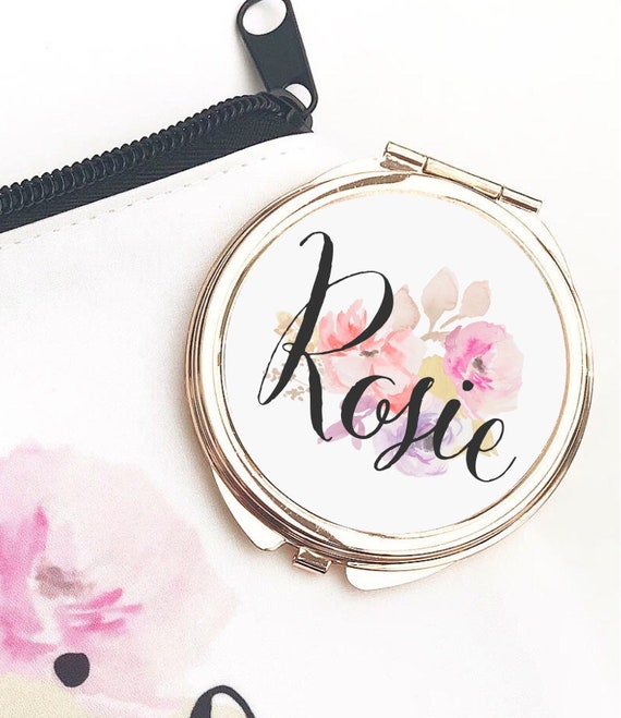 Rose gold Compact Mirror | Add any text | Bridesmaid gifts | Women's Accessories | Pocket Mirror | Made to order | Floral design