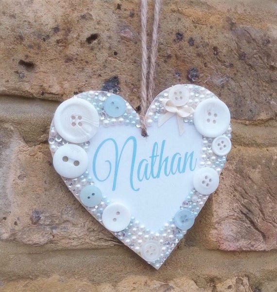 Personalised hanging heart with optional gift bag   Any quote   Buttons   Baby gifts   Birthday gifts   Plaques   Wall decor   Heart plaque