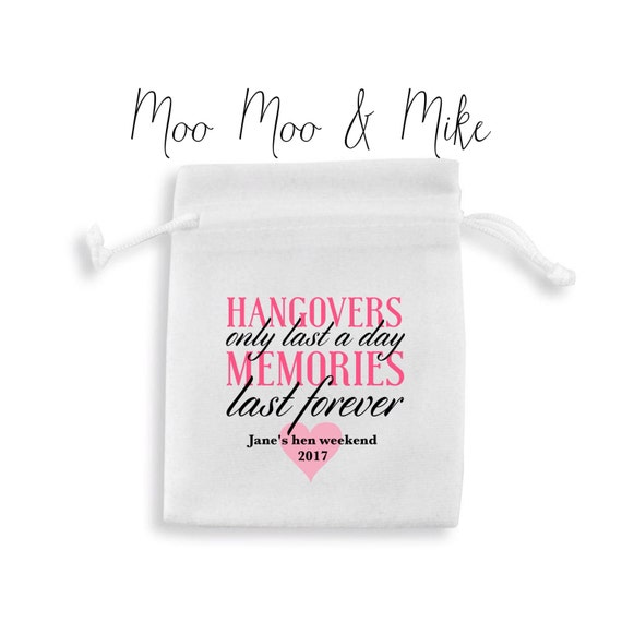 Personalised party favour bags | Hen do | Wedding | Favours | Survival kit | Hangover kit | Gift bag | hangover quote | Recovery kit
