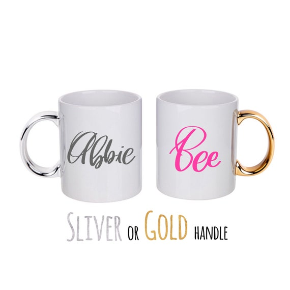 Personalised mug | Add any text | Gold or Sliver handle custom mug | Teacher gifts | Custom mug | Wedding mugs | Gold and white mug