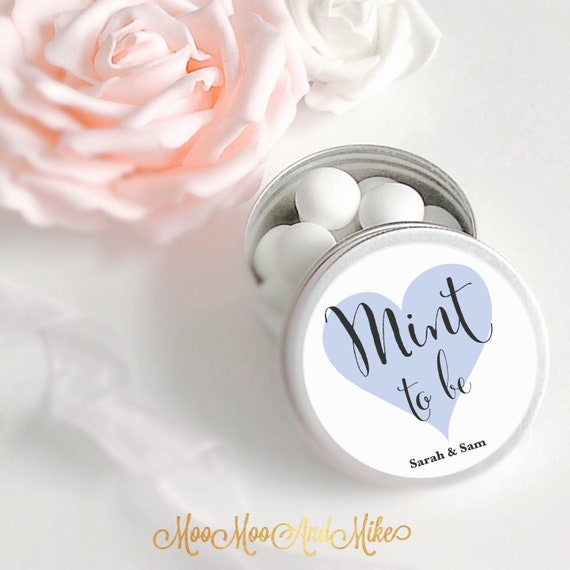 Set of 10 mint Wedding Favours  | Personalised Wedding Favor | Tin 50ml | Mint to be.