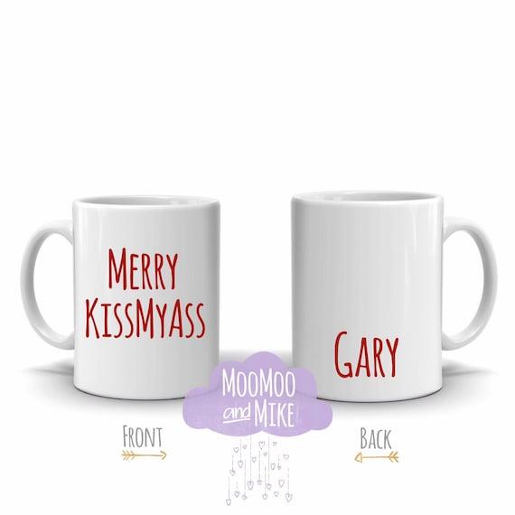 Merry kissmyass | Quote mug | Personalised mug | Christmas mug | Novelty mugs | Secret santa gift