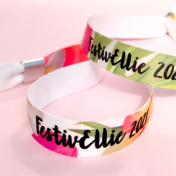 Personalised wristbands | Add any text | Wedding wristbands  | Tropical design | Hen party wristband | Festival wristbands | Save the dates