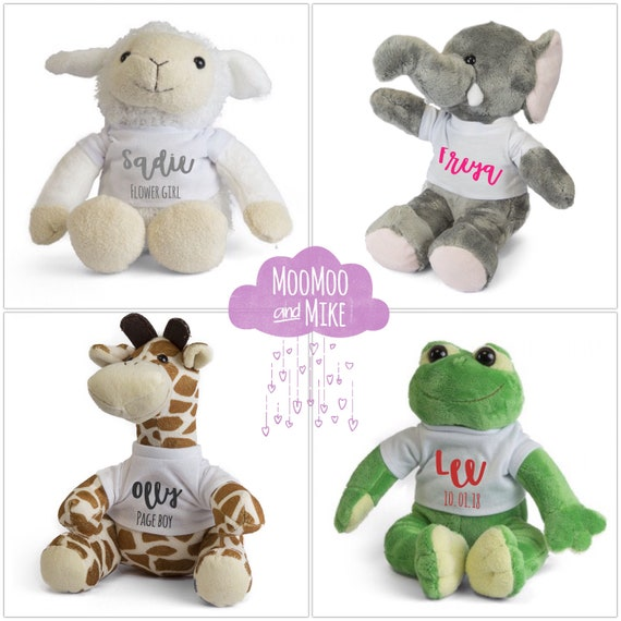 Personalised soft toy | Add any text | Lamb Frog Elephant or Giraffe | plush toy | Children's toys | Wedding gifts | Christening gifts