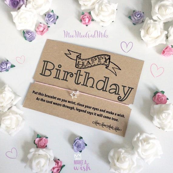 Happy birthday wish bracelet | Can be personalised | Friendship Bracelet | Wish band | Charm bracelet.