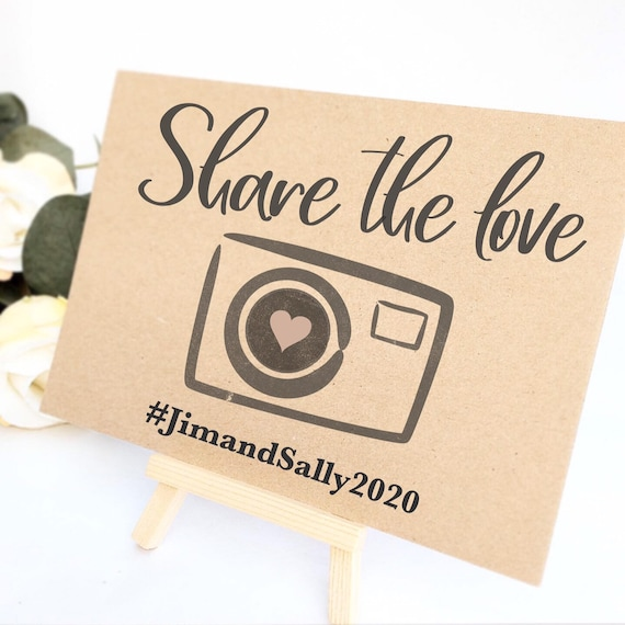Personalised Share the love hashtag table sign comes with small easel to stand on | Wedding hashtag sign | Party signage | Wedding signage