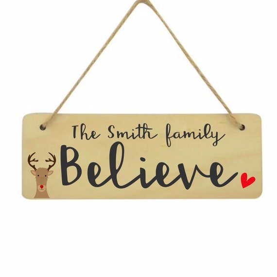Family christmas sign | Personalised hanging sign | Christmas plaque | Hanging sign | Childrens christmas sign