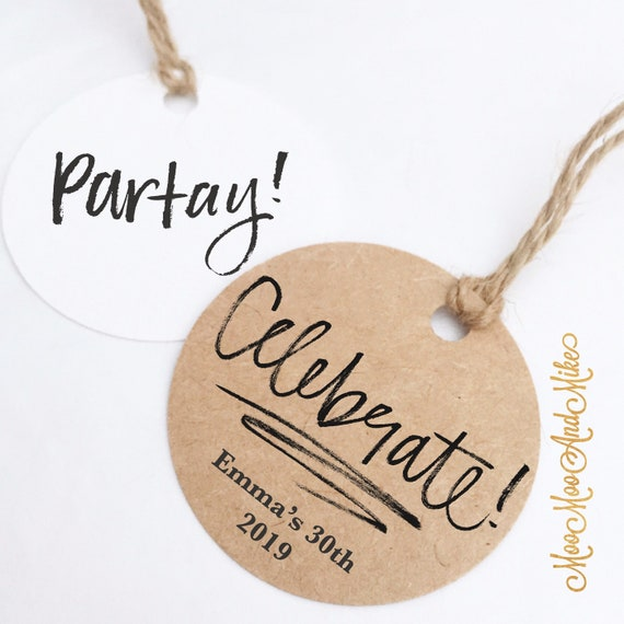 Personalised tags | Set of 12 | Partay tags | Celebrate tags | Personalised tags |Custom gift tags | Christmas tags