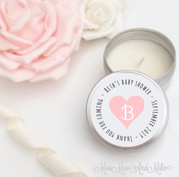 Set of 10 personalised candles   Baby shower Favours - Soy Favour Candles Personalised Wedding Favour. Tin 50ml with organza gifts bag's