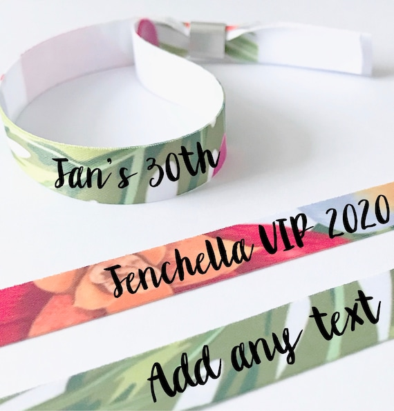 Personalised wristbands | Add any text | Wedding wristbands  | Tropical design | Hen party wristband | Hen favours | Save the dates
