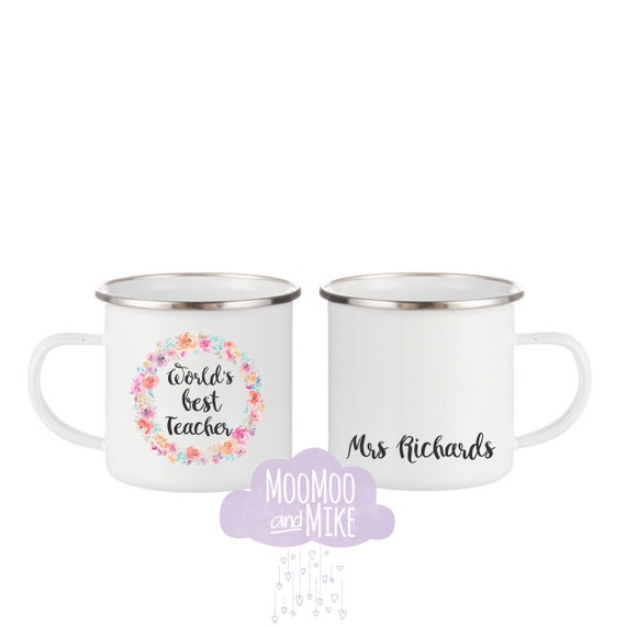 Custom mug | Add any text | Teacher mug | Bride gifts | 12oz enamel mugs | Camping mug