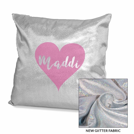 Sparkling Personalised cushion cover | Pink or Sliver | Glitter cushion | Personalised pillows | Bedroom decor | Home decor | Add any text