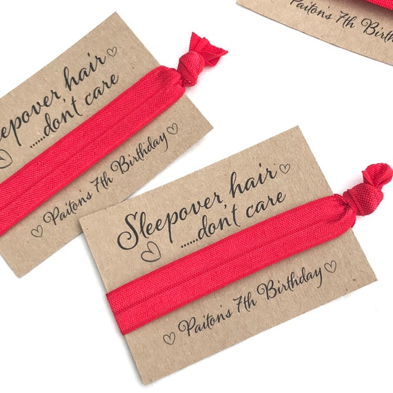 Customisable elastic hair tie | Sleep over hair don't care | Favours | Personalised favours