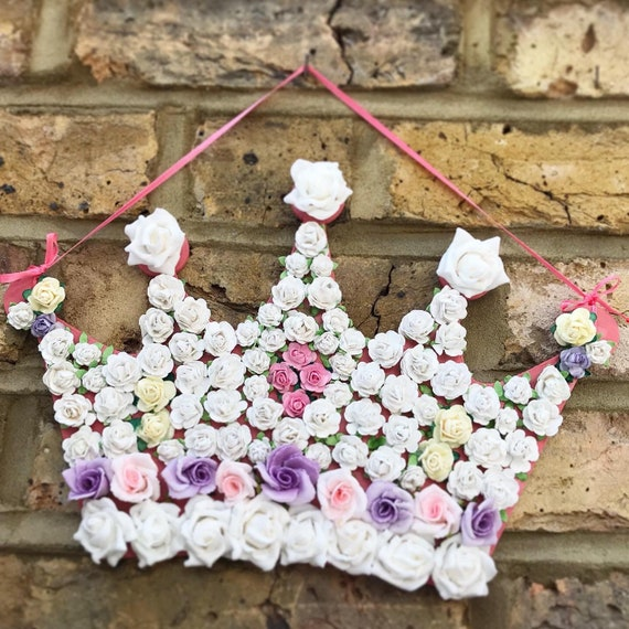 Floral hanging crown | Decorative crown | Princess crown | Baby shower | Christening gift | Nursery decor | New baby gifts | Princess decor