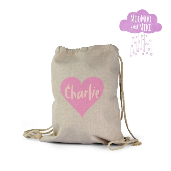 Personalised drawstring bag | Heart ot star design | Childrens backpack | School bags | P.E bag | Gym bag | Gift bag