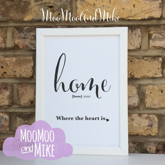 home definition print | Wall prints | Wall decor | Home decor | Print only | Typography