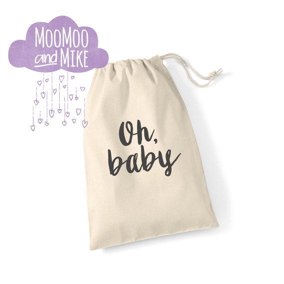 Gift bag | Oh baby drawstring gift bag | New baby gift bag | Baby shower gift bag
