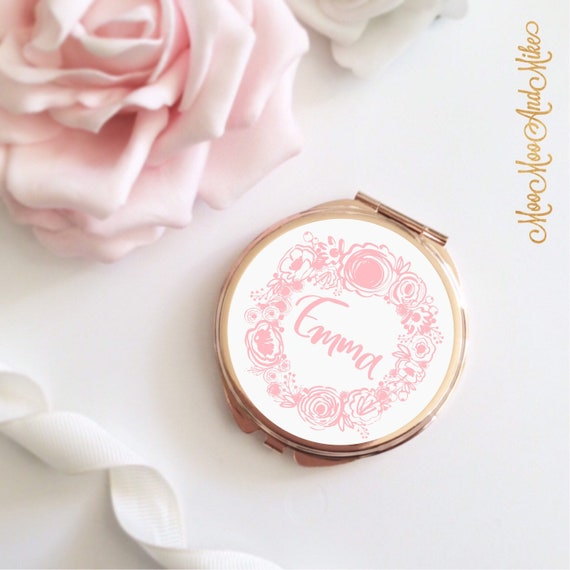 Rose gold Compact Mirror | Add any text | Bridesmaid gifts | Women's Accessories | Pocket Mirror | Made to order